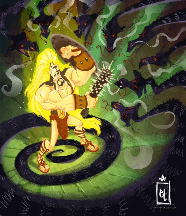 Hercules in the Den of  Nine Headed Lernaean Hydra